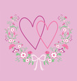 wedding floral frame with hearts vector image