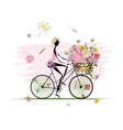 Girl with floral bouquet in basket cycling vector image
