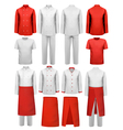 Set of cook clothing - aprons uniforms vector image vector image