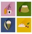 flat icons collection with shadow sweet desserts vector image