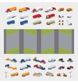 Heavy trucks parking lot constructor vector image