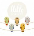 owl set cute vector image