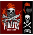 Pirate Skull in Red Headband with Cross Swords vector image