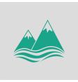 Snow peaks cliff on sea icon vector image vector image