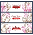 Ice cream banners sketch set vector image vector image