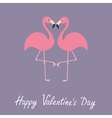 Pink flamingo couple neck heart shape Exotic vector image