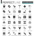 black classic household appliances web icons set vector image