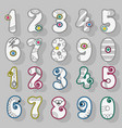 white numbers with colorful decor vector image