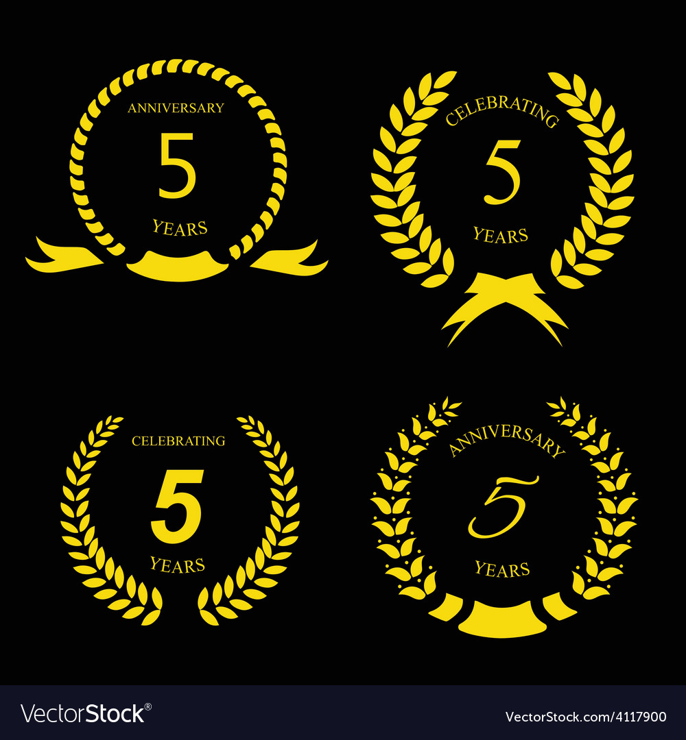 5 years anniversary golden label with ribbon vector