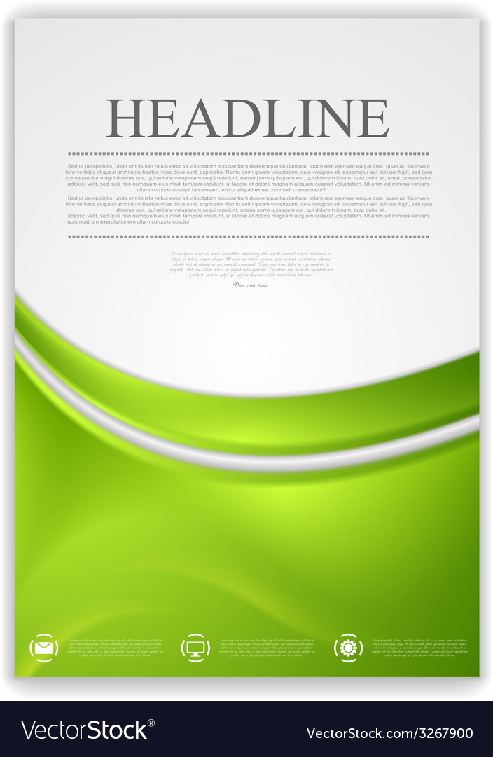 Abstract green wavy modern flyer design vector