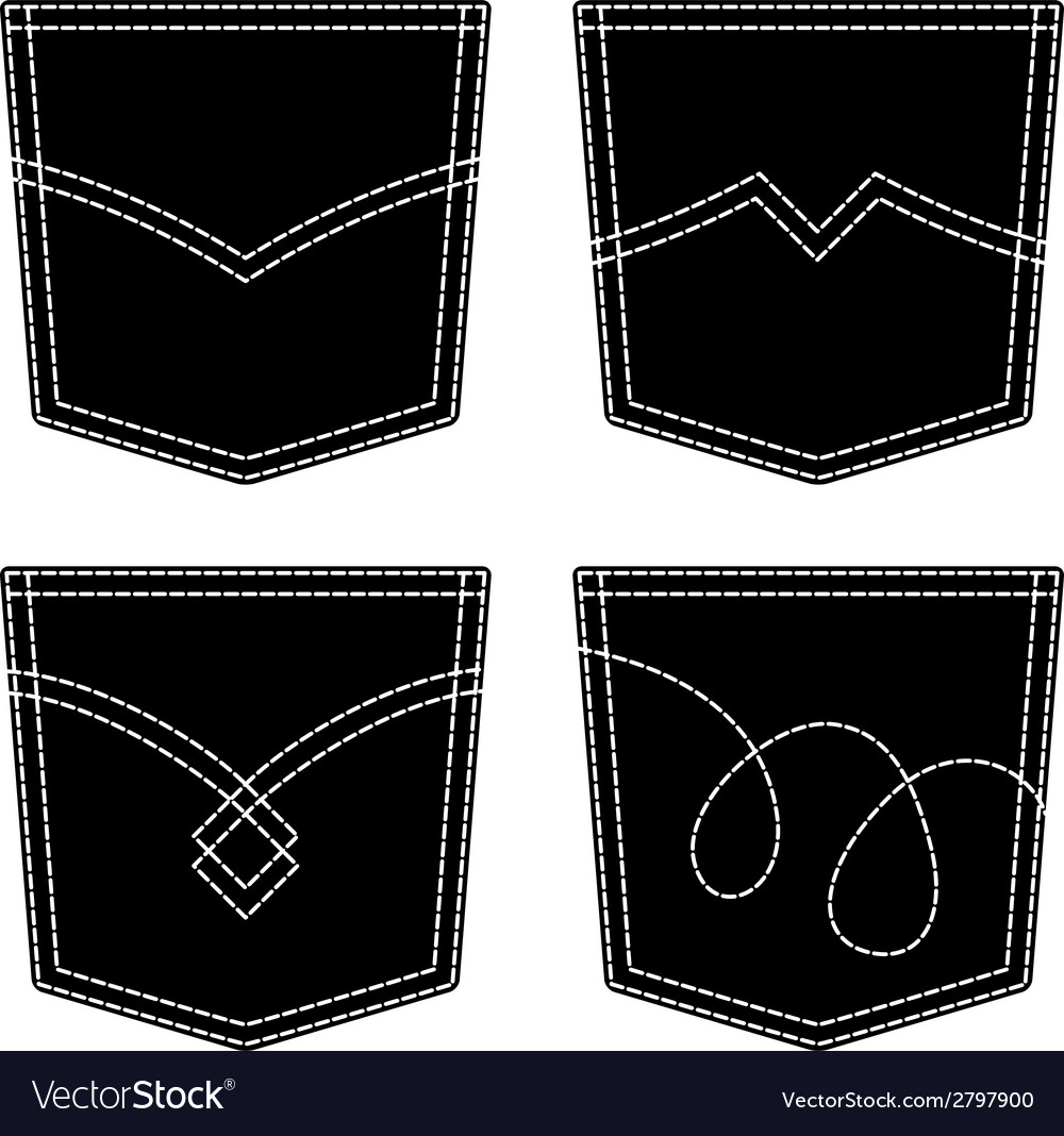 Jeans pocket black symbols vector