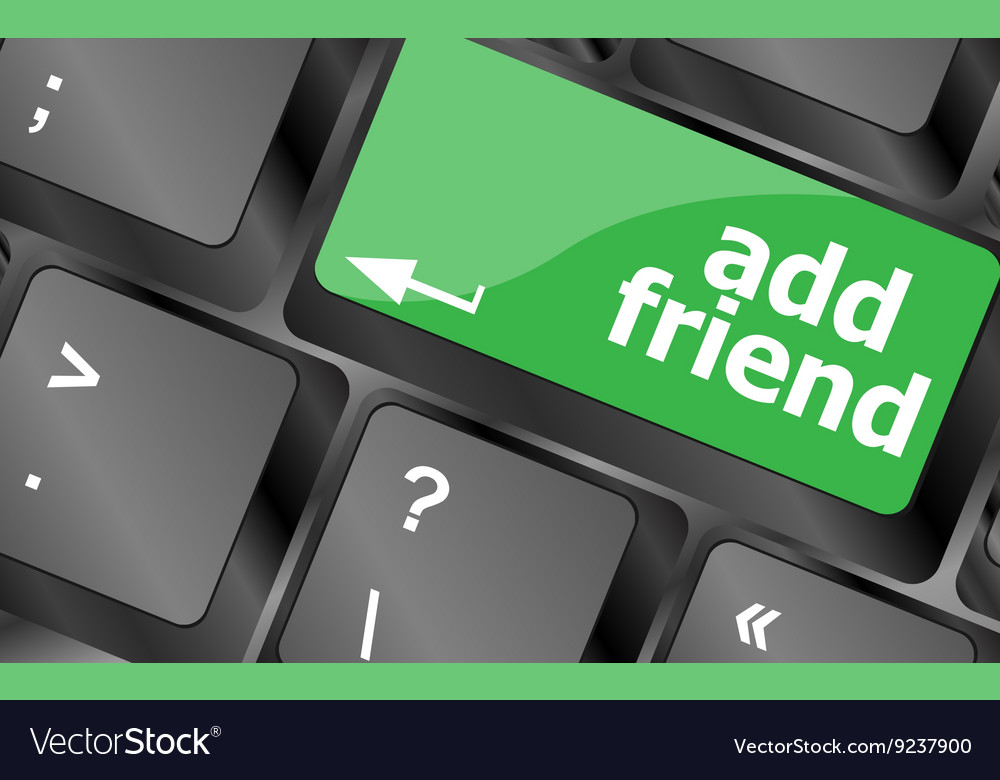 Keyboard with add friend button social network vector