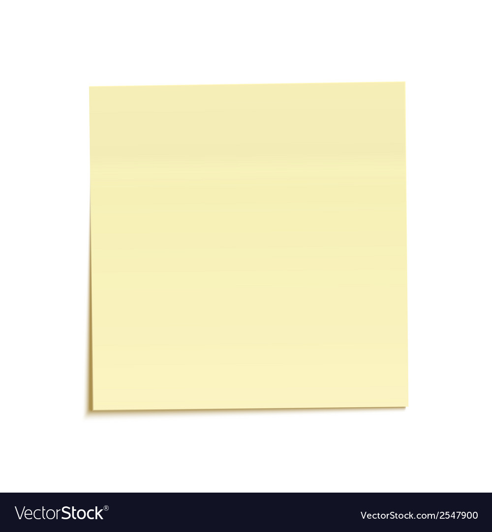 Yellow sticky note isolated on white background vector