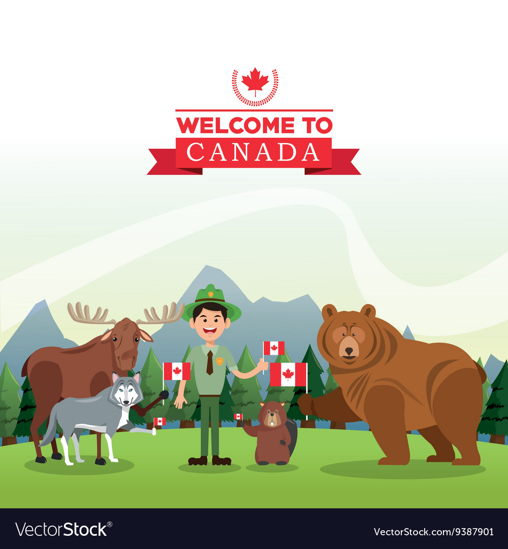 Forest animals canada icon cartoon design vector