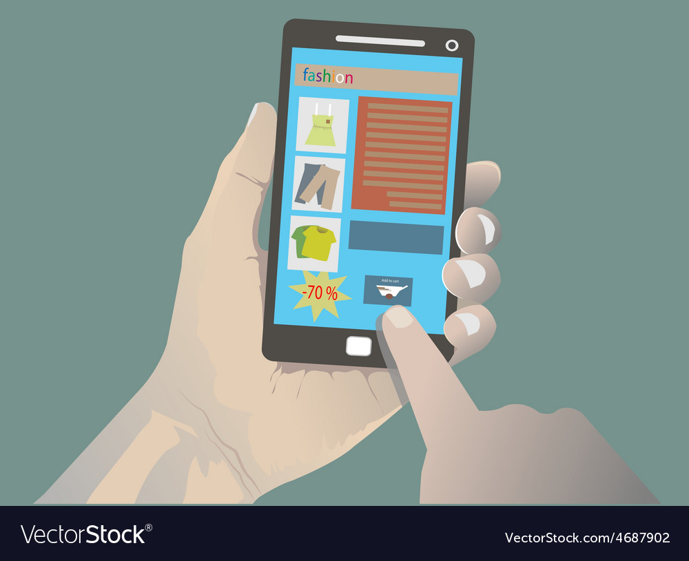 Hand holding iphone vector
