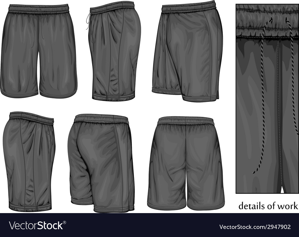 Mens black sport shorts vector