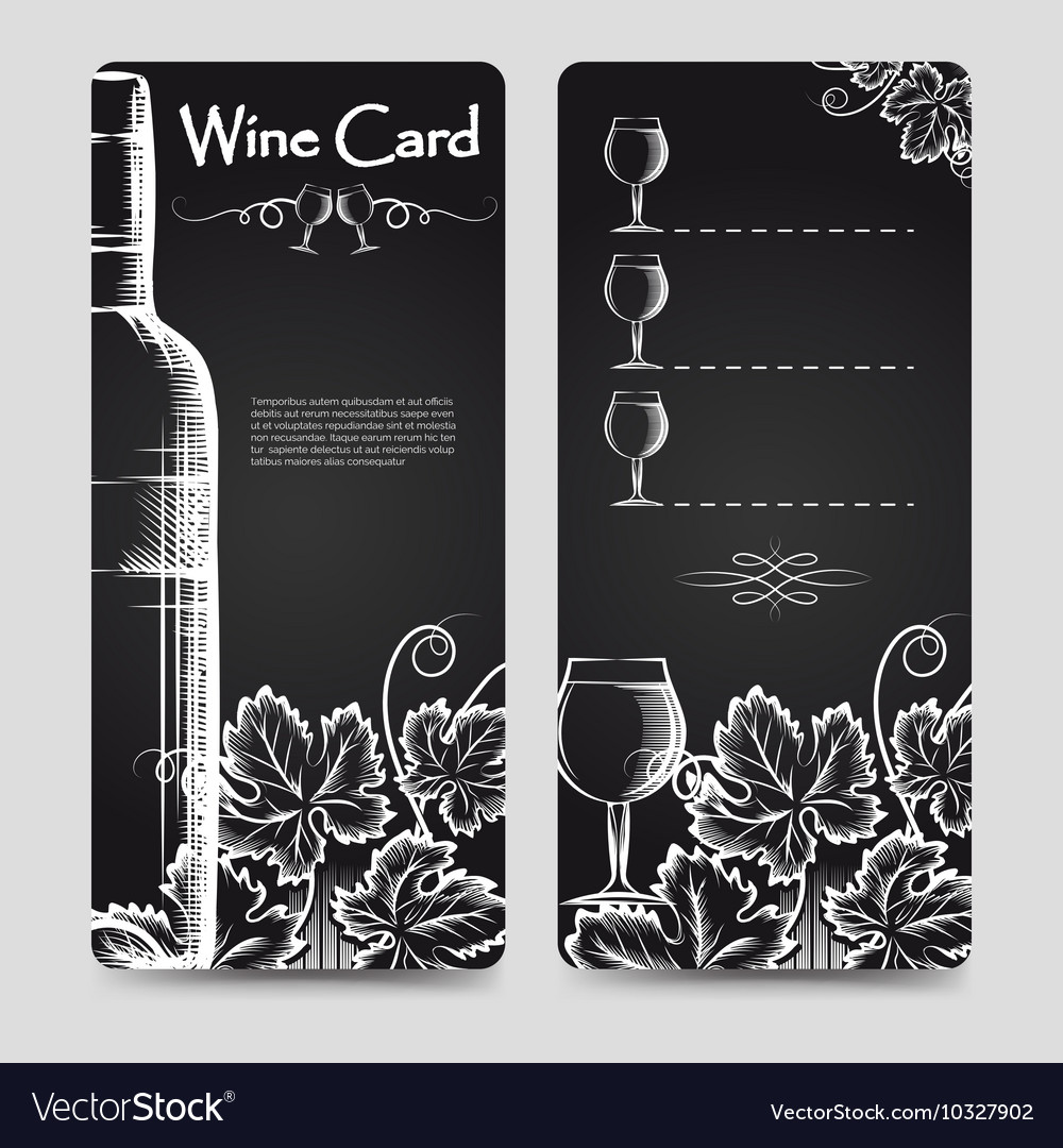 Wine card menu flyers template vector