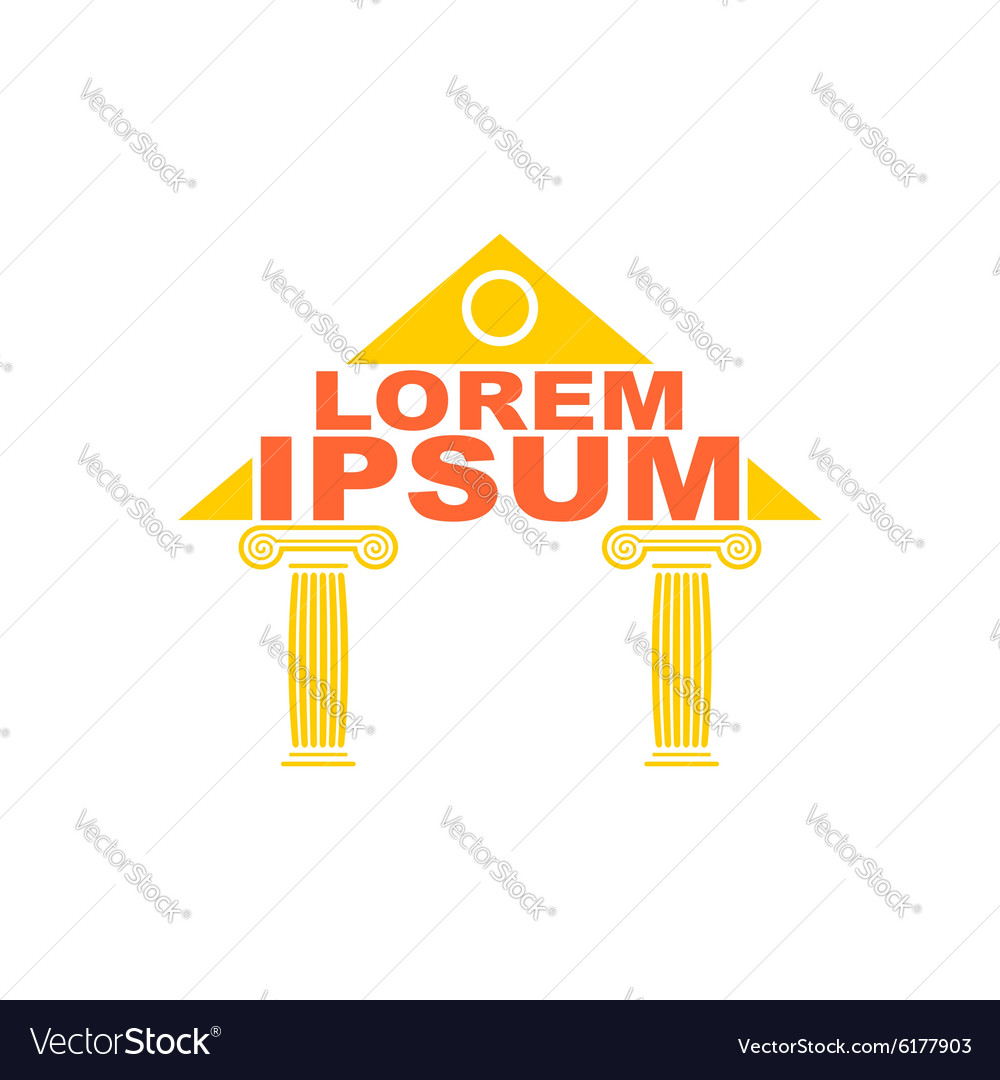 Architectural logo greek temple columns logo the vector