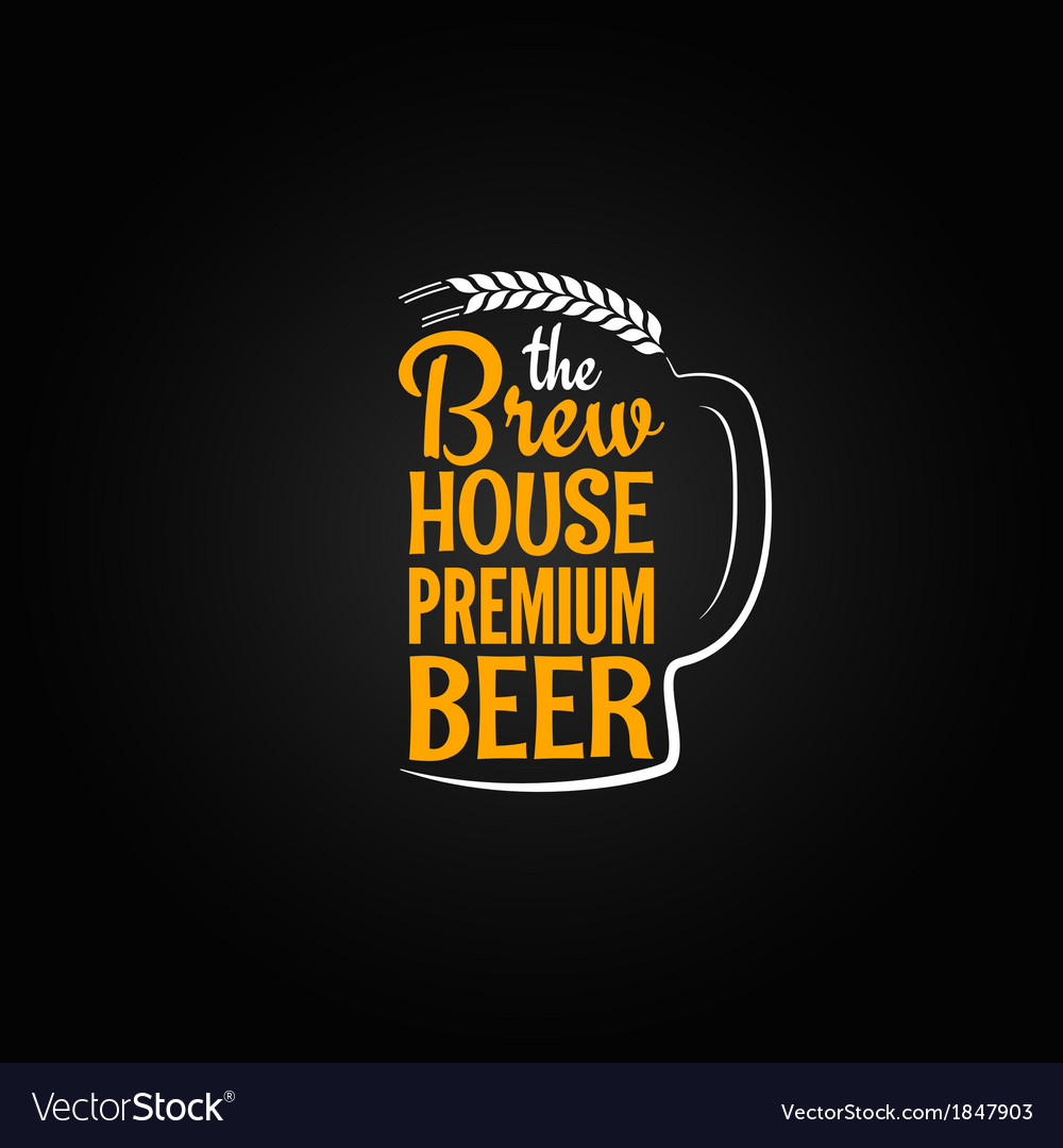 Beer bottle glass house design menu background vector