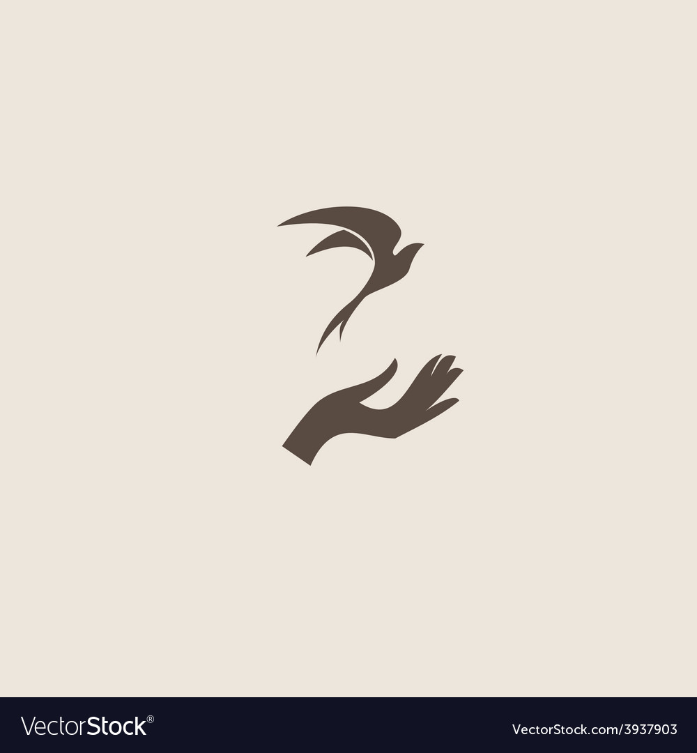 Bird with hand freedom sign vector