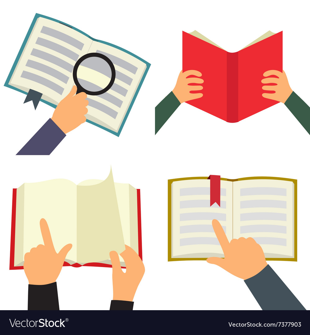 Reading book flat icon set vector