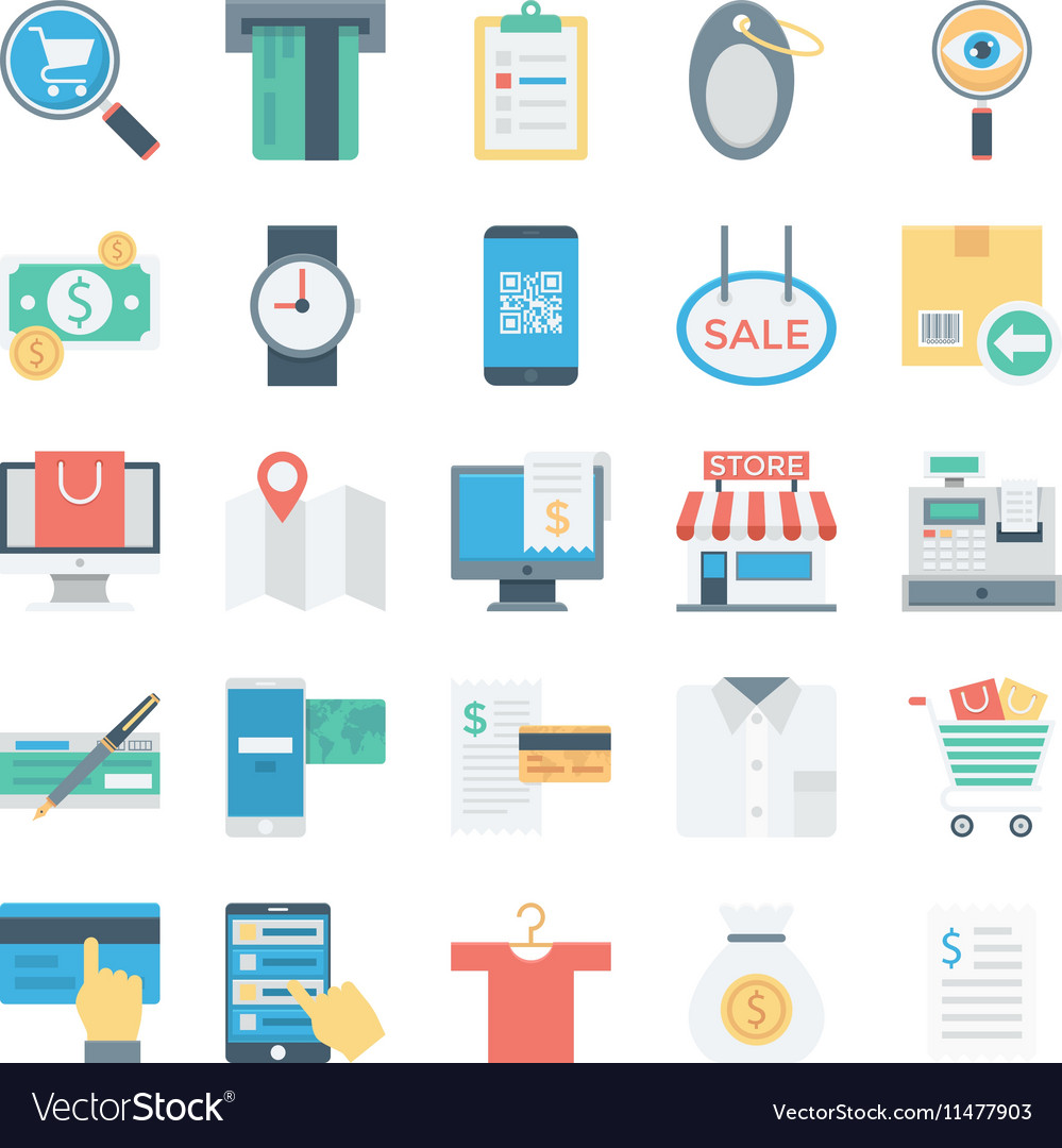 Shopping and e commerce colored icons 4 vector