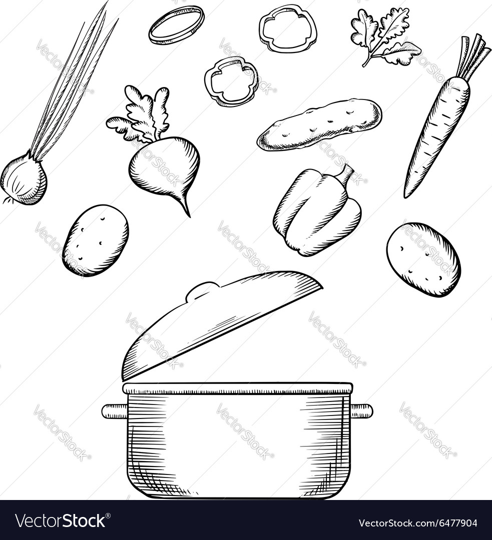 Cooking process with dish and vegetables vector
