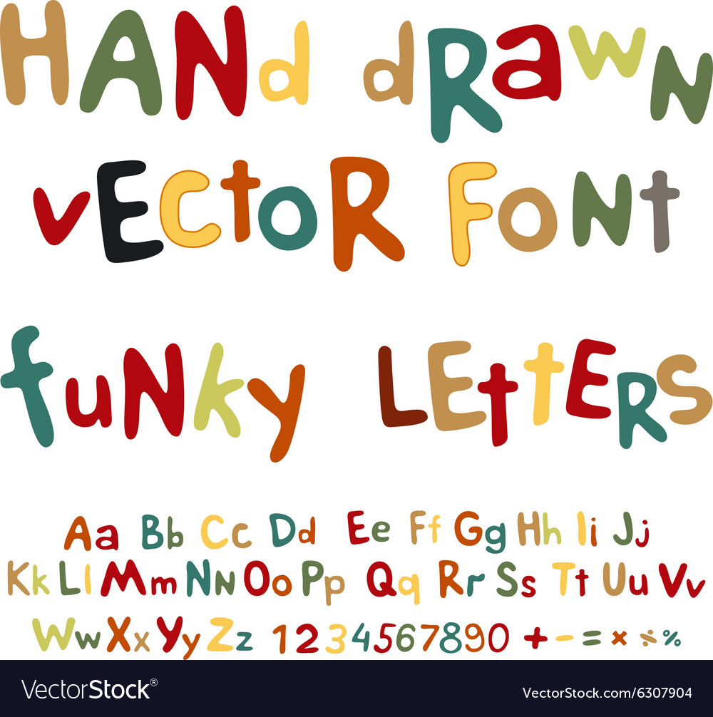 Handdrawn alphabet funky letters font vector