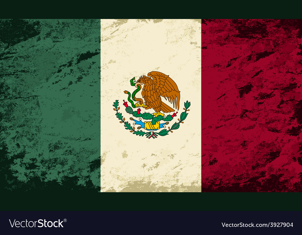 Mexican flag grunge background vector