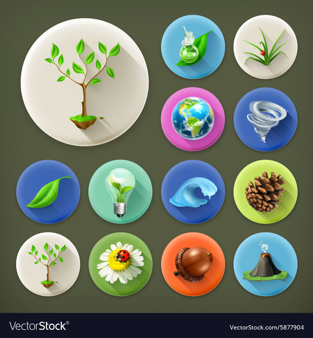 Nature and ecology long shadow icon set vector