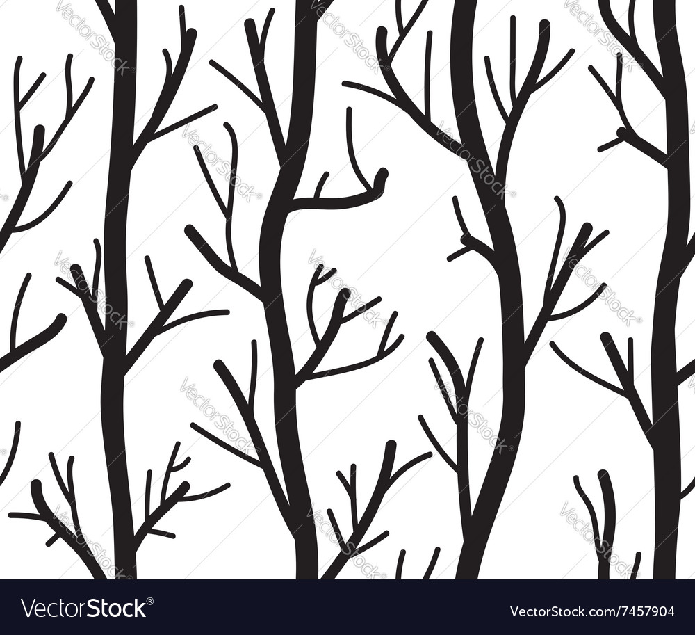 Seamless black and white background with trees vector