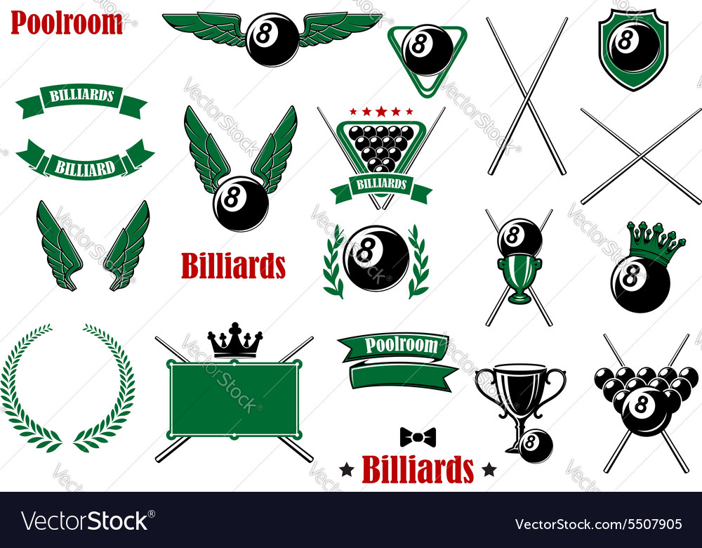Billiards pool and snooker game items vector