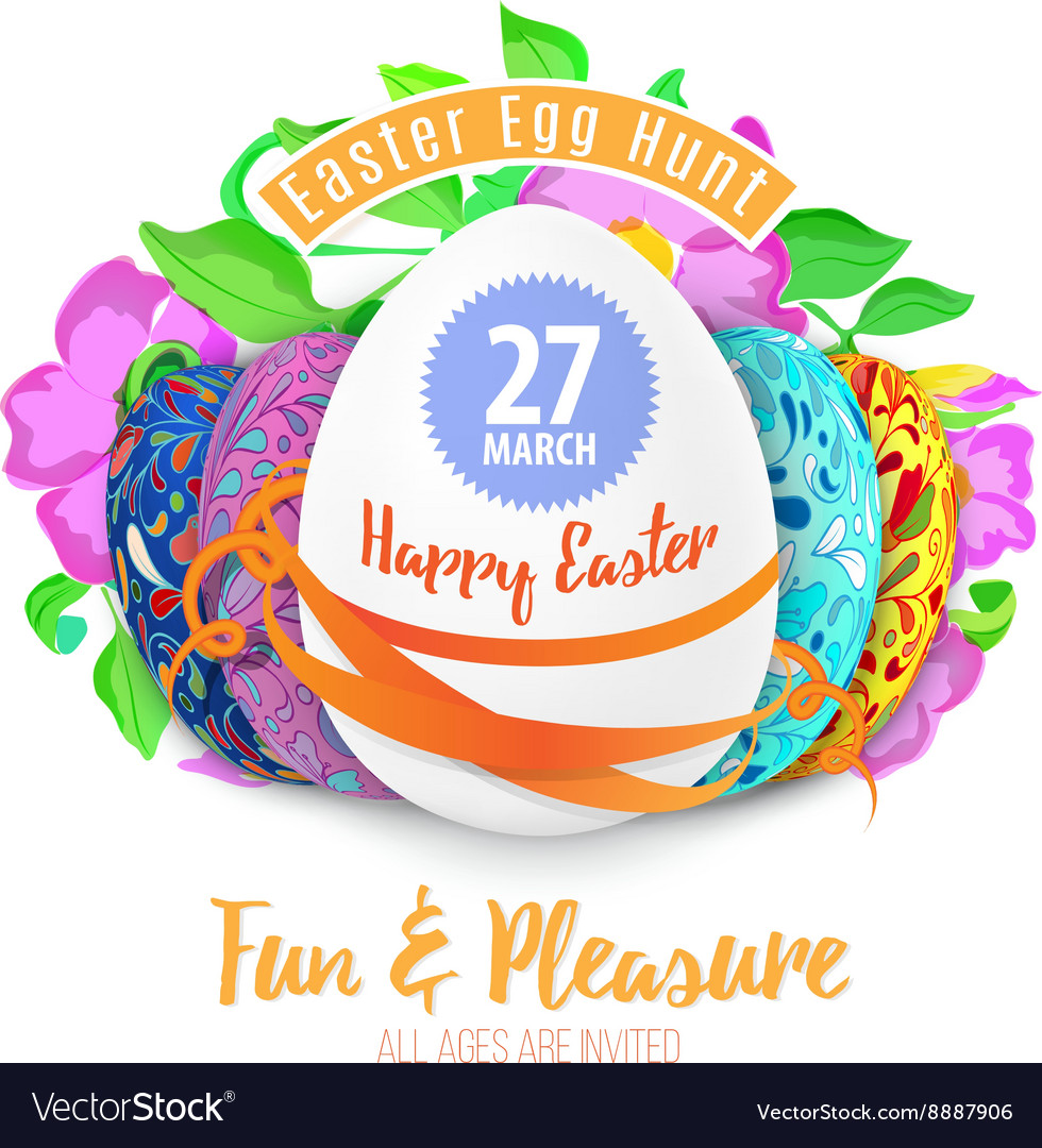Easter egg hunt in the flowers design eps 10 vector
