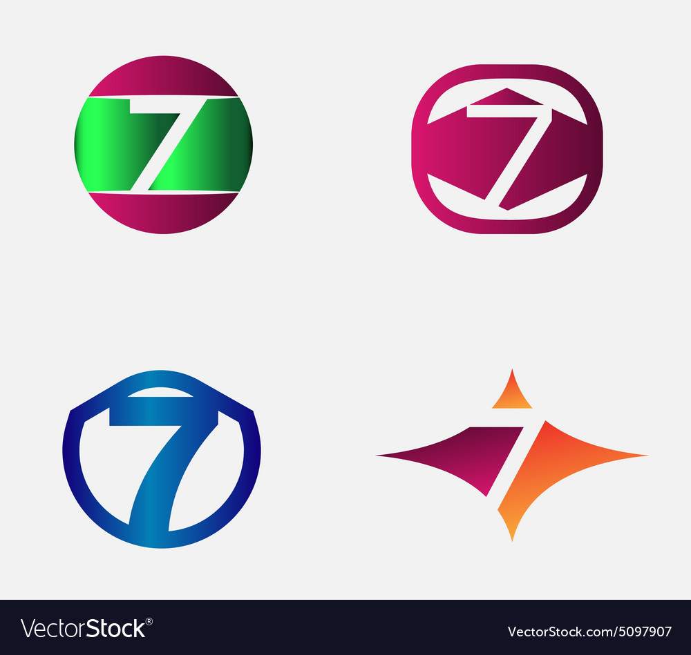 Number seven logo template abstract icon vector