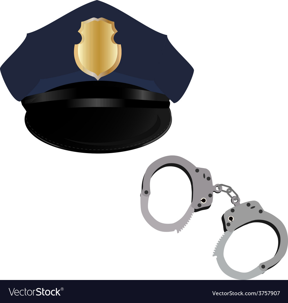 Police hat and handcuffs vector