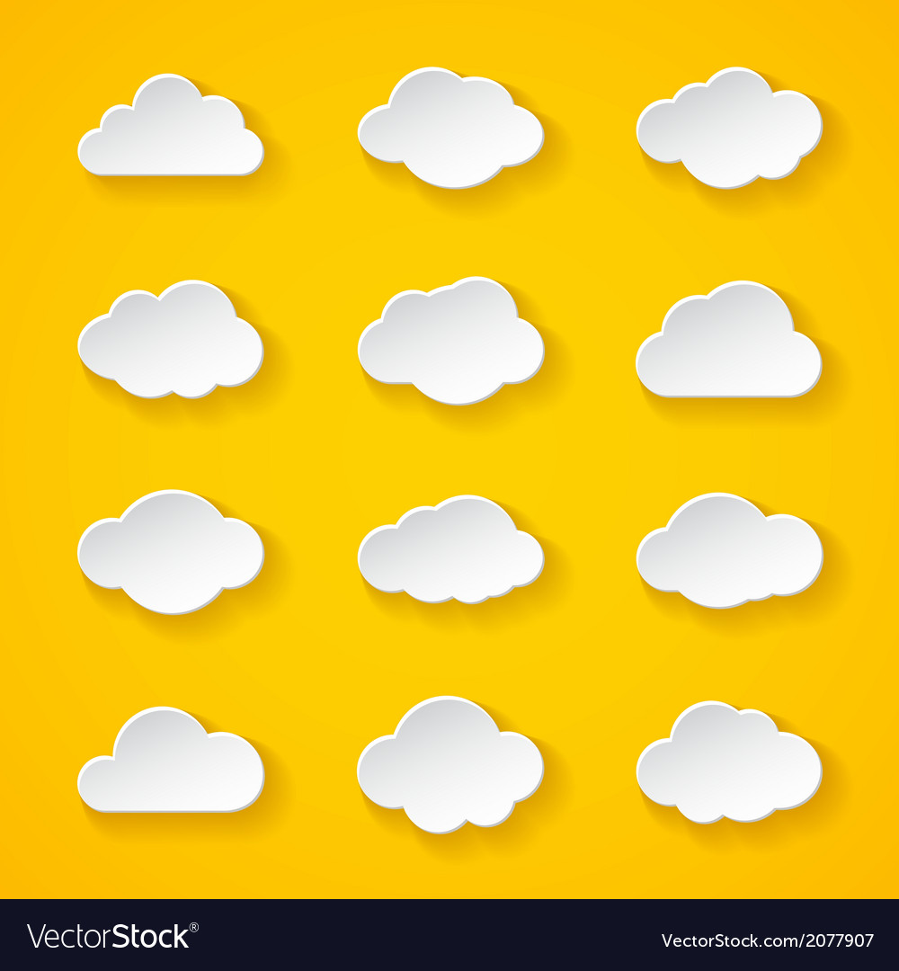 Twelve white paper clouds with different shapes vector