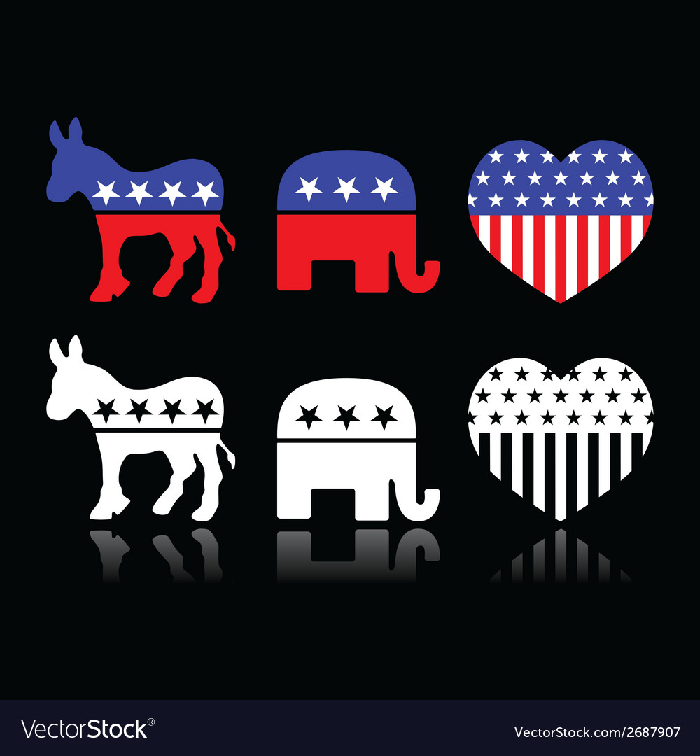 Usa political parties  democrats and republicans vector