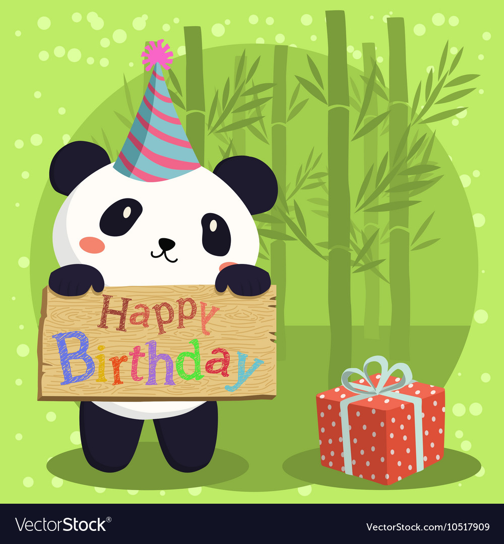 Birthday panda bear cartoon vector