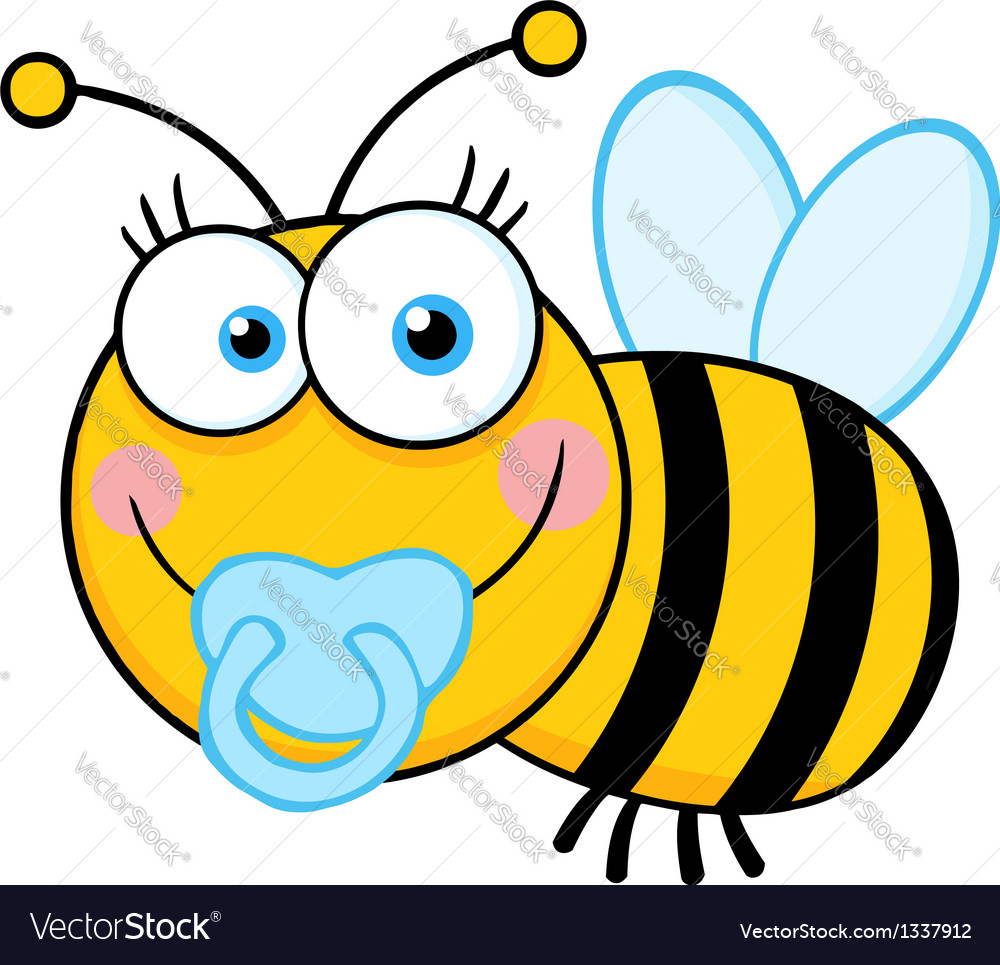 Baby boy bee cartoon mascot character vector