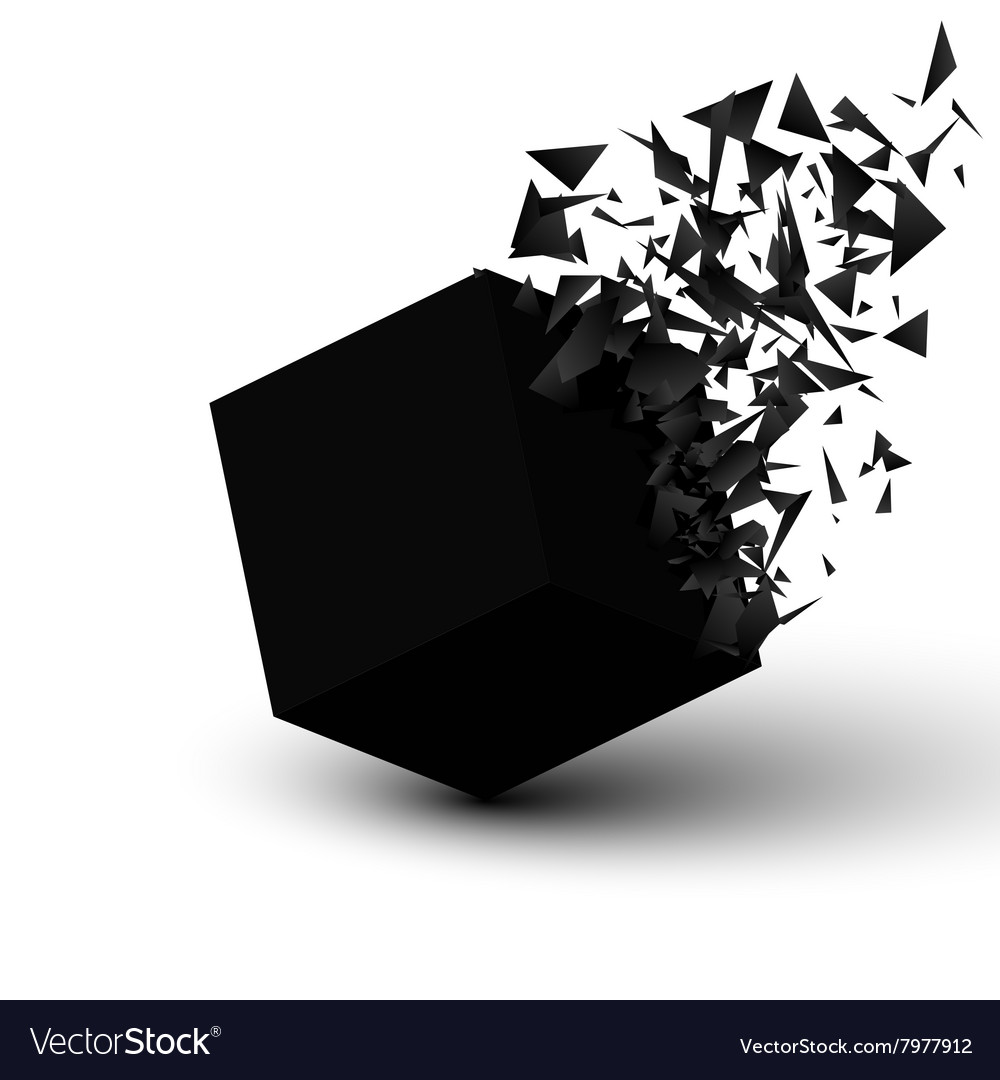 Black cube explosion abstract background vector