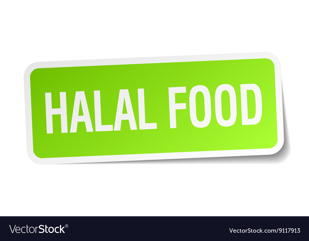 Halal food green square sticker on white vector