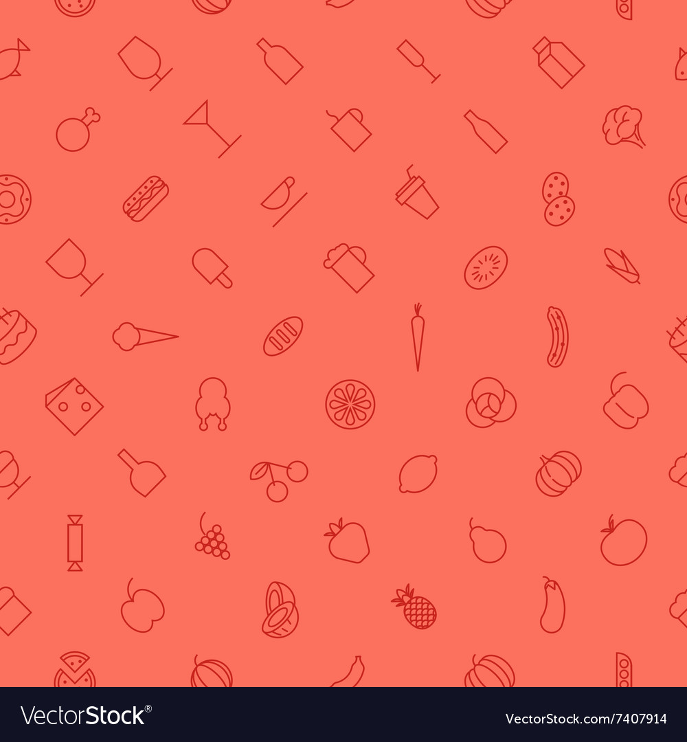 Seamless icons food fruits color vector