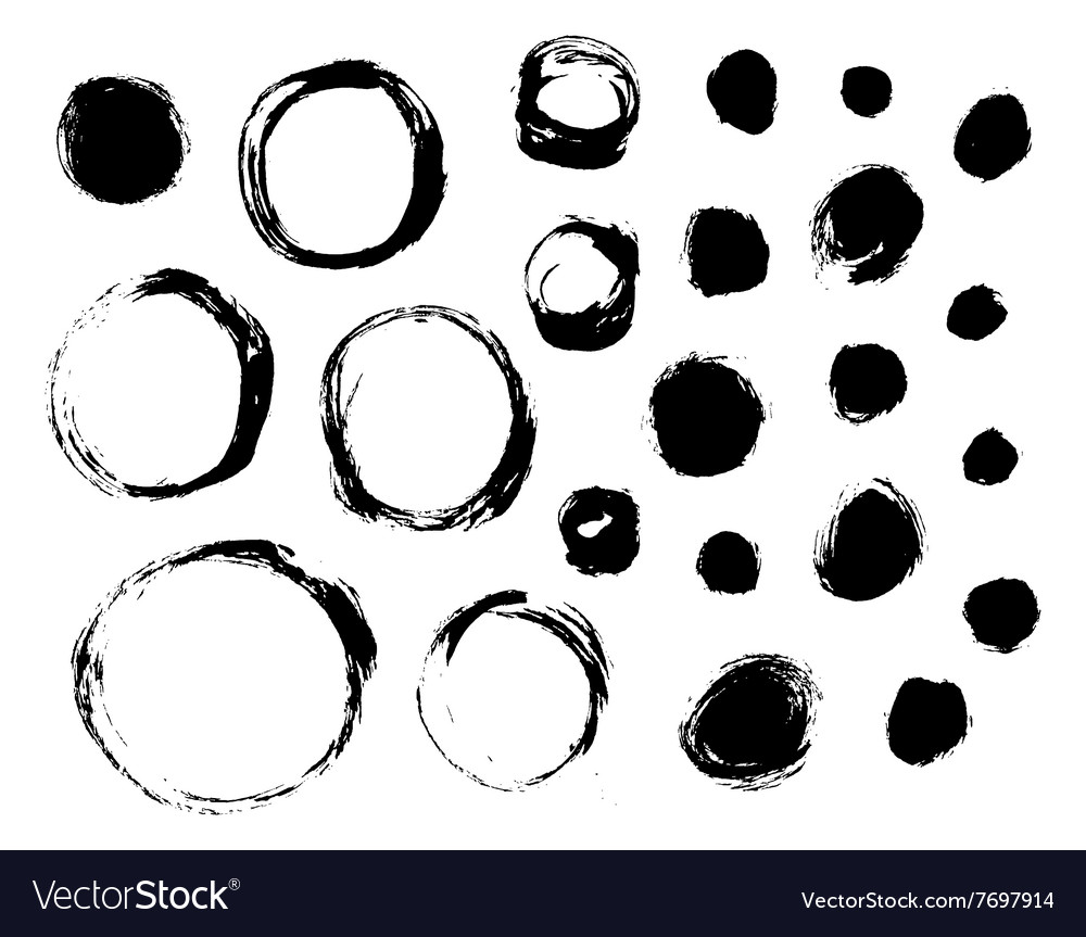 Set of isolated ink spots and circles vector