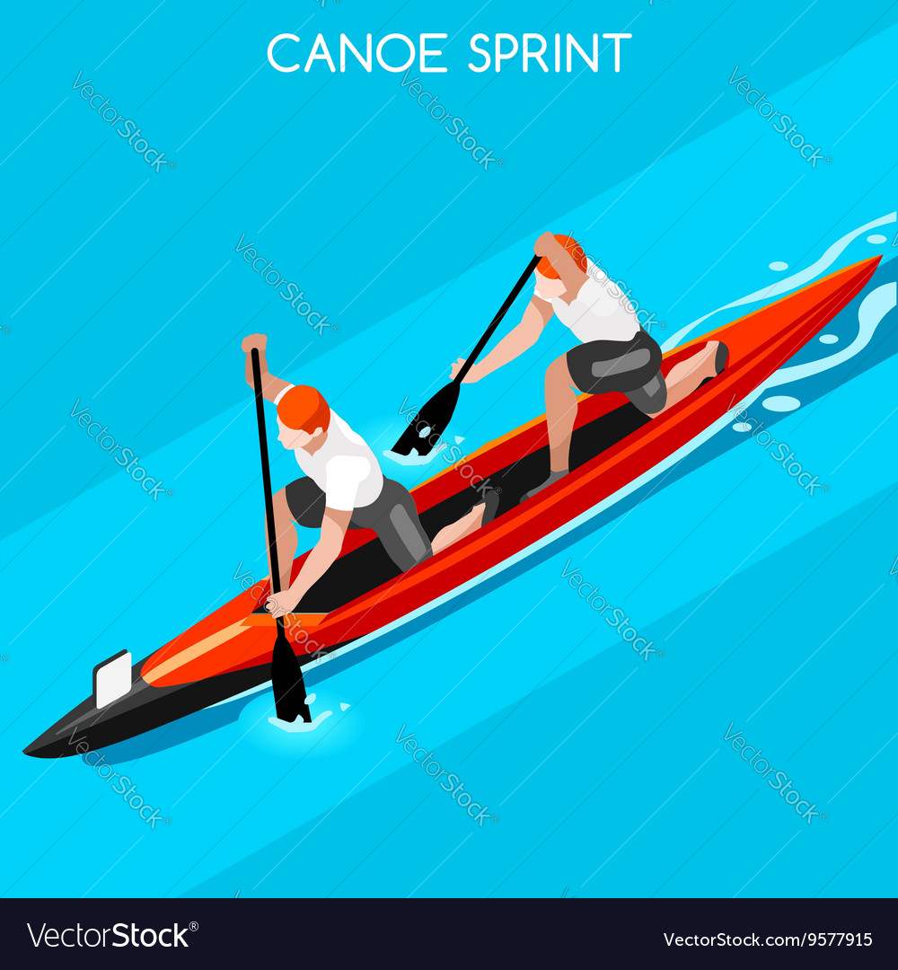 Canoe double 2016 summer games isometric 3d vector