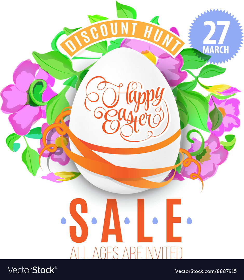 Easter eggs banner for easter sales vector