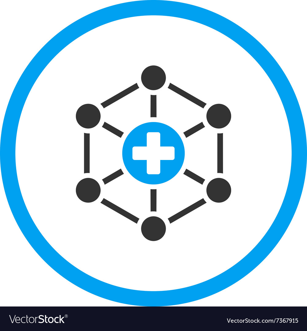 Medical network rounded icon vector