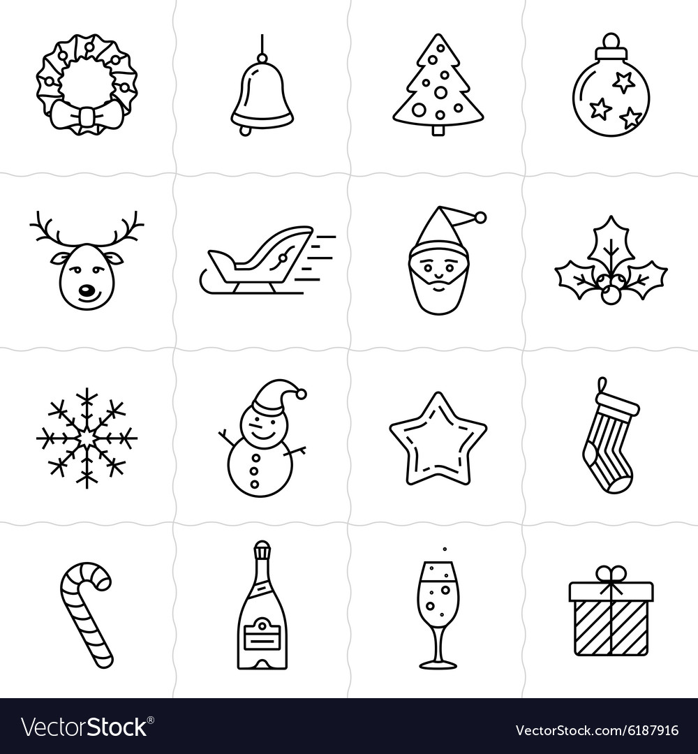 Christmas icons set  simplus series vector