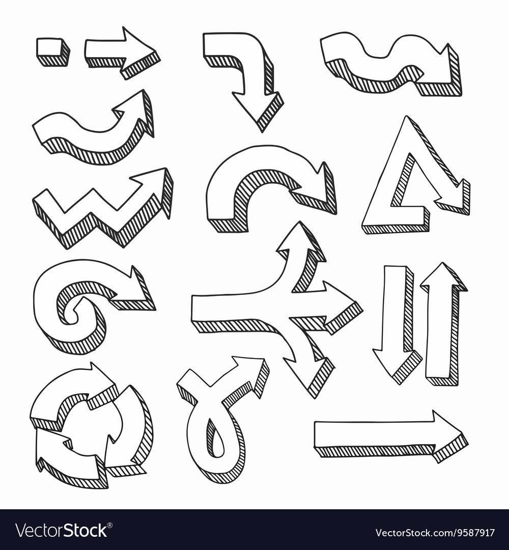 Hand drawn graphic arrows vector