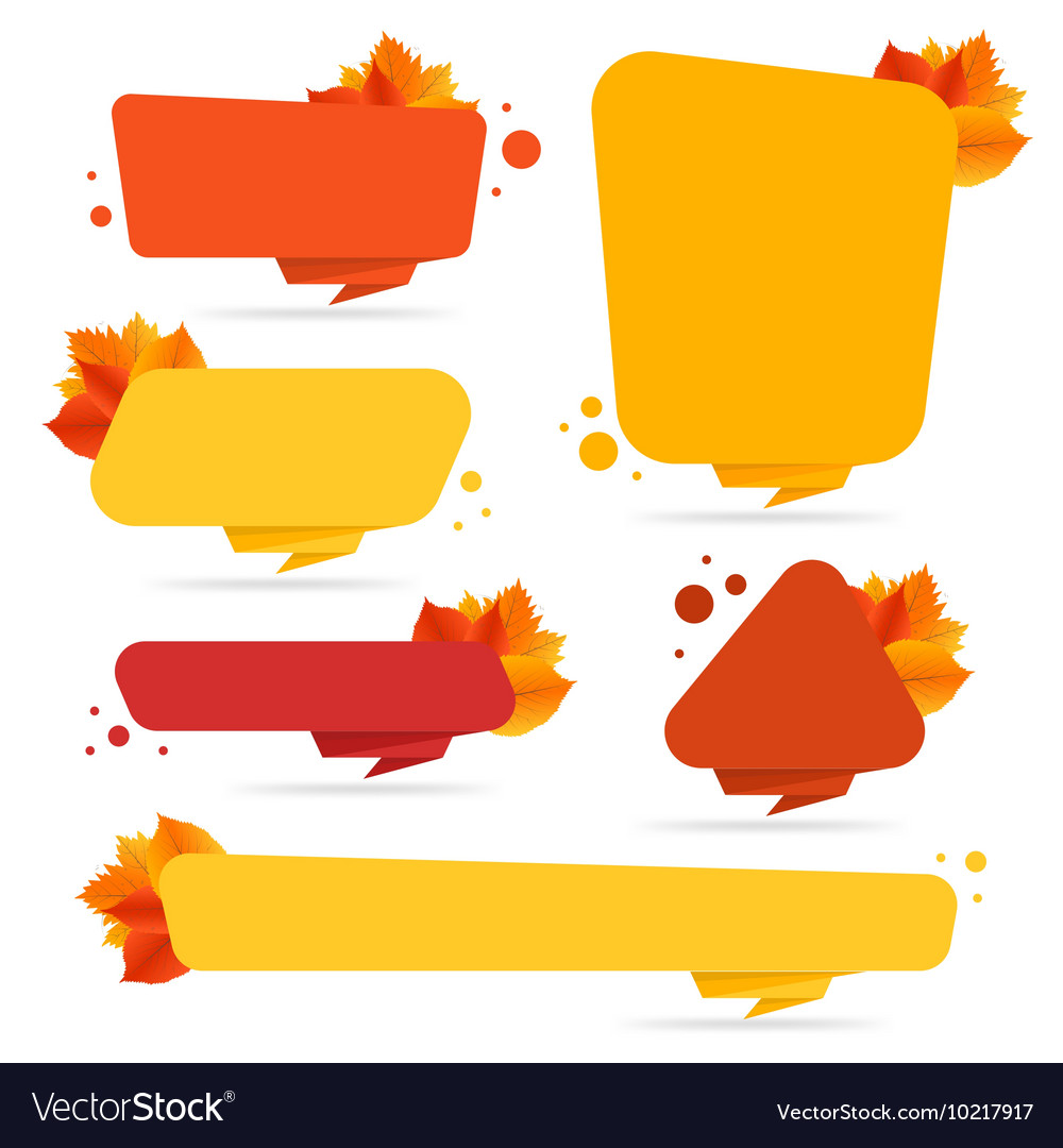 Set of banners with autumn leaves vector