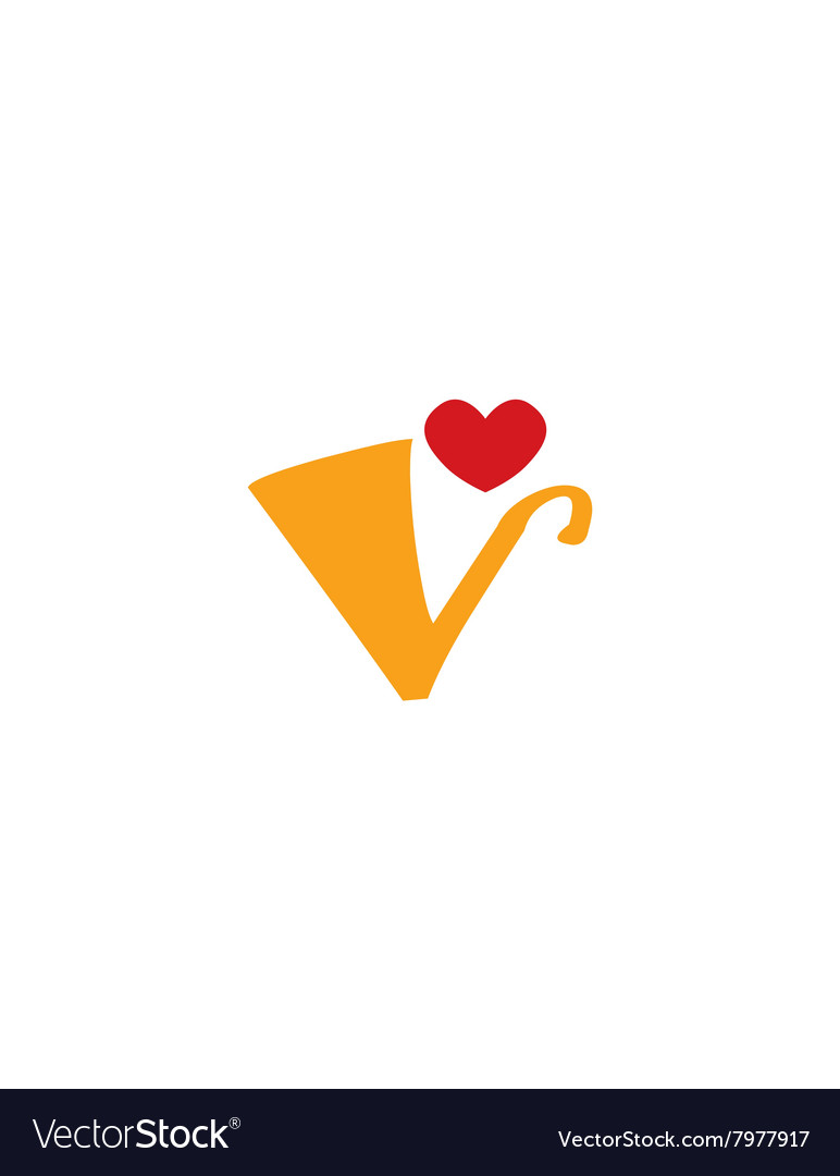 Valentine lowercase v vector